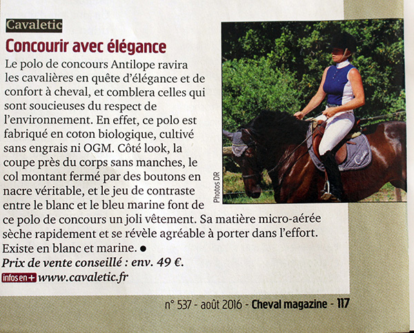 cavaletic dans cheval mag aout 2016