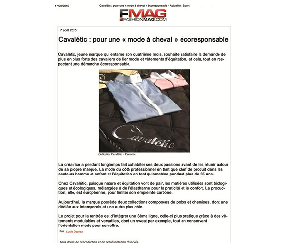cavaletic dans fashionmag